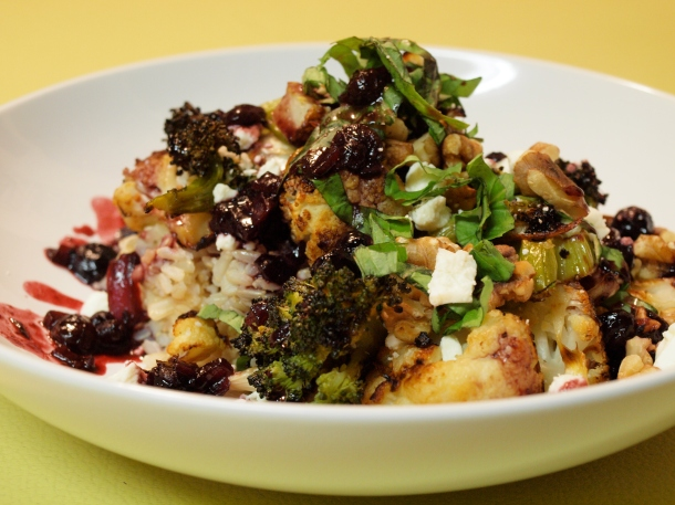 Roasted Veggie Rice Bowl with Blueberry Balsamic Reduction Sauce